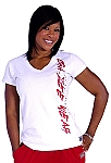 Fitted V Neck Wht Top with red crazeewear and silver Cal.