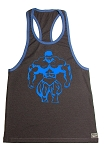 312R  Charcoal Tank Top with huge muscle man In Neon Blue
