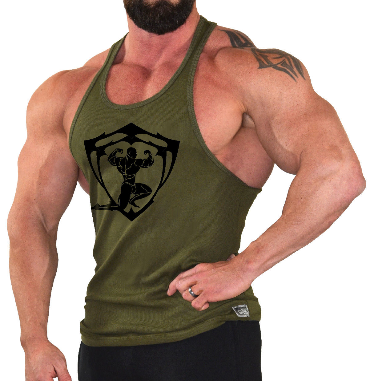 Stringer Tank Top In Army Green With Sparta Design