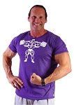 Custom Tee Purple w/squat muscle man in white