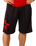 Style 600MS Micro blend black training shorts with Red Physique Star