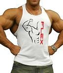 312R  White Tank Top with Flex Design In Black And Red