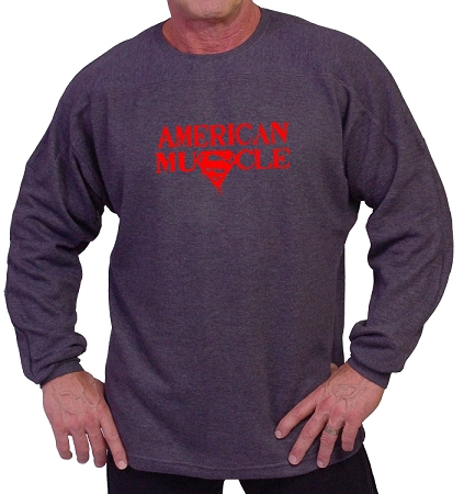 Style 444ft Charcoal Grey Sweat Shirt  With American Muscle In Red Design