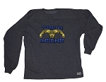 Style 444FT Charcoal  Long Sleeve  Sweat Shirt With Versa Blue Train Insane