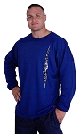 Style 444FT Blue Sweat Shirt  Top with white tribal and black crazeewear