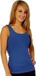 315 Blue Stretch Rib Cotton Fitted Tank Top For Women