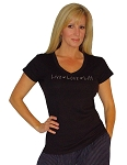 Fitted V Neck Blk Top With grey Live- Love- Lift