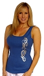 315 Blue With Silver Swirl Tank Top