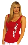 315 Red Tank With White Swirl