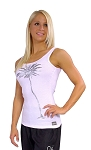 315 Women's Custom Fitted Stretch Rib White Tank Top With Silver Palm