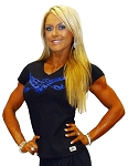 Fitted V Neck Blk Top with blue eagle -