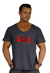 New Style 680V Charcoal Grey, summer cool, light weight,  Relaxed Fit  V-Neck With Versa Crazee Wear Logo