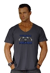 New Style 680V Charcoal Grey, summer cool, light weight,  Relaxed Fit  V-Neck With Train Insane Blue/Grey