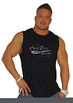 Style325MB Solid Black Sleeveless Tee With Versa Liquid Silver Crazee Wear Logo