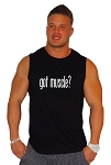 Style 325MB Solid Black Sleeveless Tee With White Got Muscle
