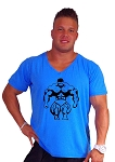 New Style 680V Aqua Blue, summer cool, light weight,  Relaxed Fit  V-Neck With Mega Muscle Man