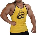 Crazee Wear 312RC Yellow Stretch Fitted Tank With Black Trim And Rhino design