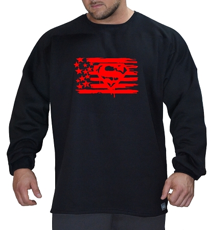 Style 444ft Black Sweat Shirt  With  Red Super flag Design