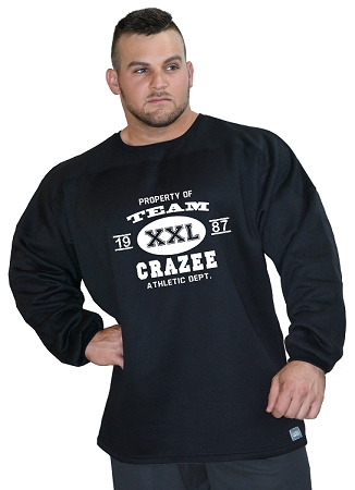 Style 444ft Black  Sweat Shirt  With Team Crazee In White Design