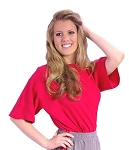 Style 444S Red Relaxed Fit Short Sleeve Wide Shoulder Top For Men Or Women