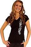 Fitted V Neck Black Top with Silver Swirl