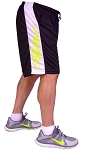 Style 600MS Micro blend black/White training shorts With Neon Yellow Side Winder