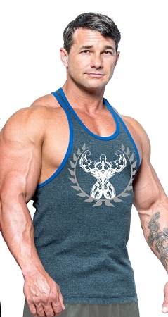 312R  Charcoal Grey Tank Top With Blue Trim With Huge Muscle Man Back Crest