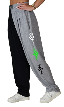 Classic Two Tone Baggy Pants With Diamond Tattoo Design