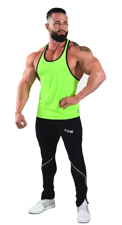Stringer Tank Top In Neon Green And Black Trim