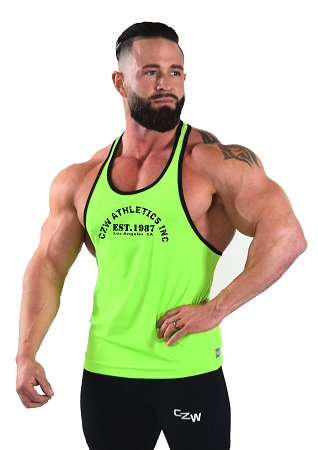 Stringer Tank Top In Neon Green And Black Trim  With CZW Athletics Inc. Design