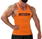 Stringer Tank Top In Solid Orange With Physique Barbell In Black