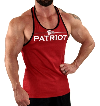 Stringer Tank Top In Red And Black Trim  With Patriot Design In White