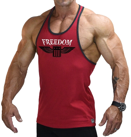 Stringer Tank Top In Red And Black Trim  With Freedom Design
