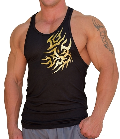 312R  Black Fitted Stretch Tank Top  With Gold Tattoo  Design