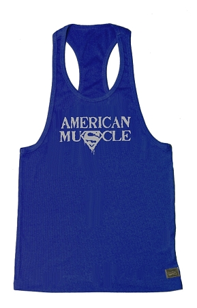 312R  Blue Fitted Stretch Tank Top With Grey American Muscle Graphics