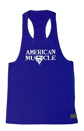 Crazee Wear 312R Royal Blue Rib Stretch Fitted Tank Tops With White American Muscle In White
