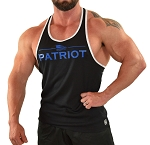 Stringer Tank Top In Black And White Trim  With Patriot Design In Blue