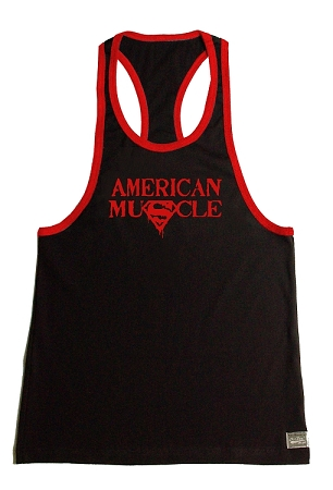 Crazee Wear 312RC Black Rib Stretch Fitted Tank Tops With Red Ribbing With American Muscle Superman In Red