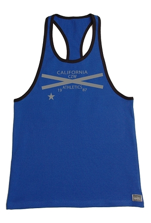 312R  Blue Tank Top With Black Trim With Gains All Day CZW Cross 1987 In Grey