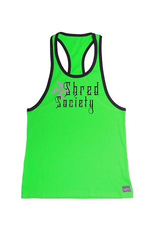 Crazee Wear 312RC Neon Green/Black Stretch Fitted Tank Top With West Shred Society Design