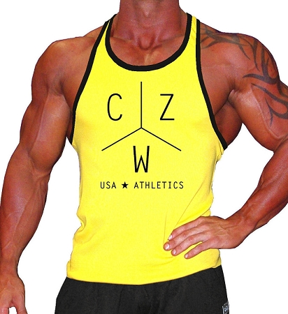 312R  Yellow With Black Trim Tank Top With CZW Athletics In Black