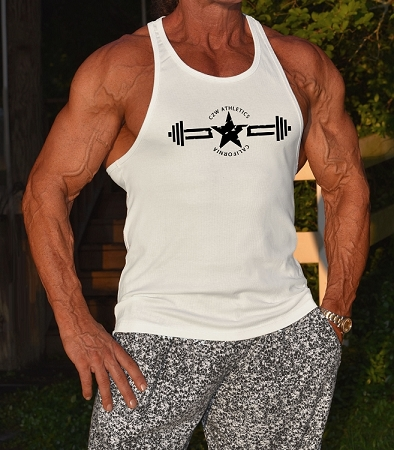 Crazee Wear 312R White Rib Stretch Fitted Tank Top With Stealth Design