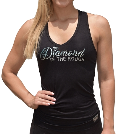 Style 340 Black Stretch Fabric Racer back Tank Top With Diamond Design