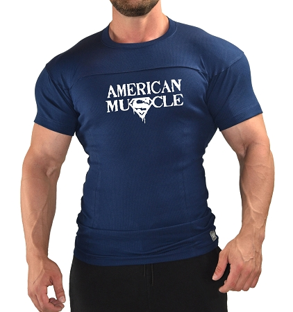 Muscle Fitted Shirt In Navy Blue With American Muscle Design