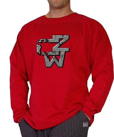 Style 444ft Red  Sweat Shirt  With Grey CZW Design