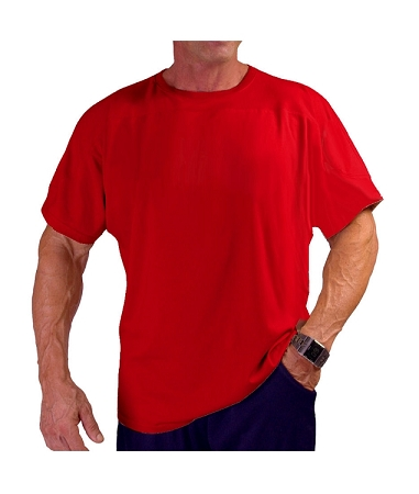 Style 444S Red Relaxed Fit Short Sleeve Top For Men Or Women With Shoulder Accent