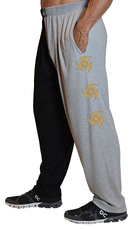 Classic Two Tone Relaxed Fit Baggy Pants With Blade Star Gold Design
