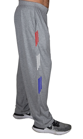 Classic New Heather Grey Baggy Pants With Red,White, Blue Stripe Design