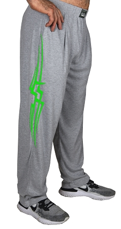 Classic New Heather Grey Baggy Pants With Neon Green Tribal