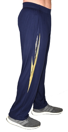 Classic Solid Navy Blue Pants For Men And Women With Gold Spear Pattern